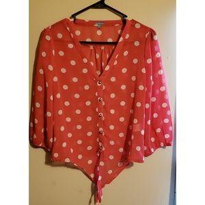 Sheer polka dot tie blouse